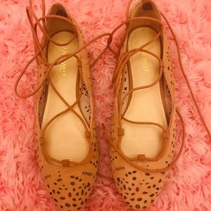 Rose-colored, eyelet, lace-up ballet flats
